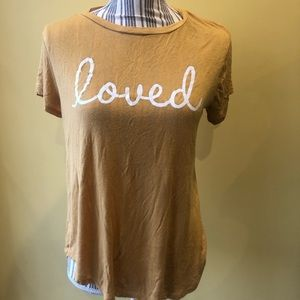 Mustard colored loved T-shirt